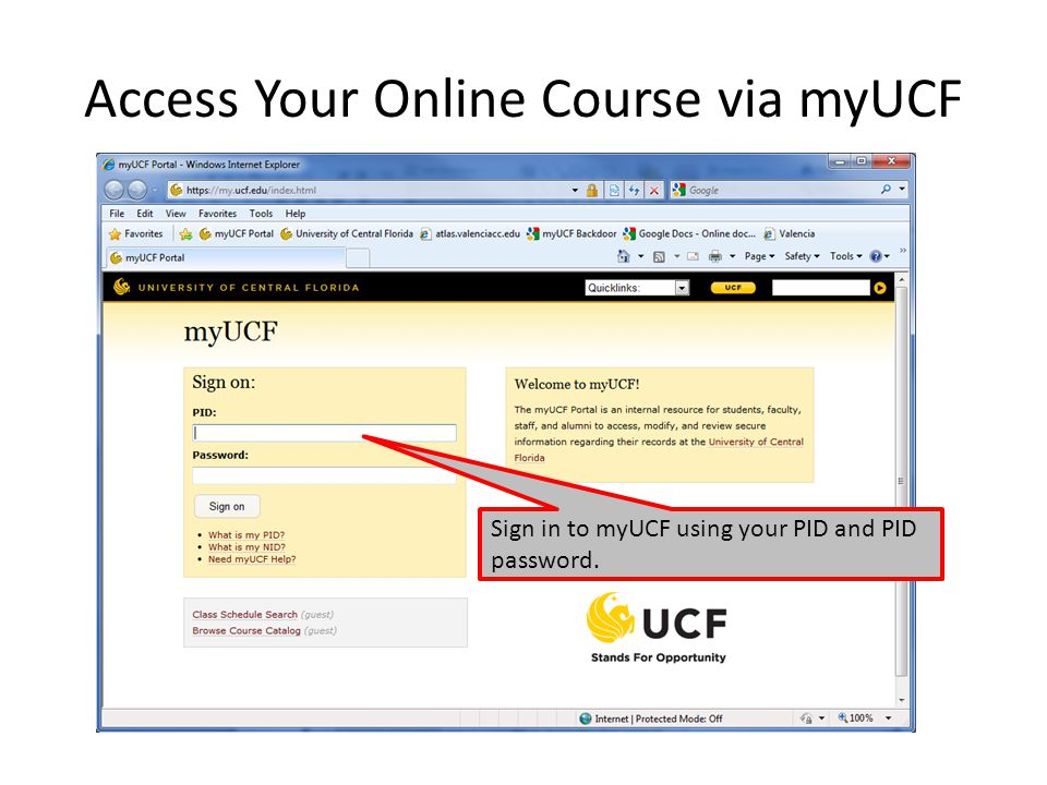 Access Your Online Course via myUCF