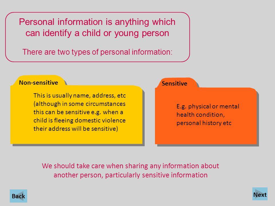 There are two types of personal information: