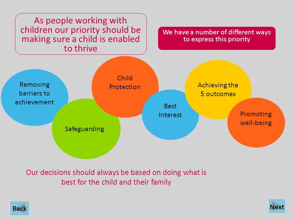 As people working with children our priority should be making sure a child is enabled to thrive