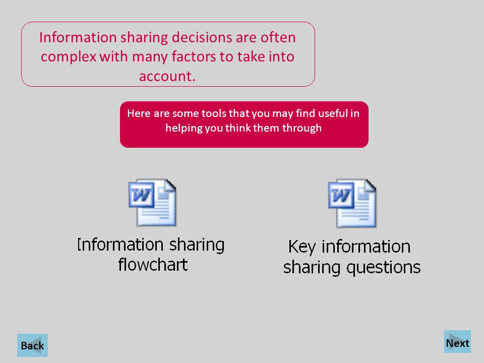 Information sharing decisions are often complex with many factors to take into account.