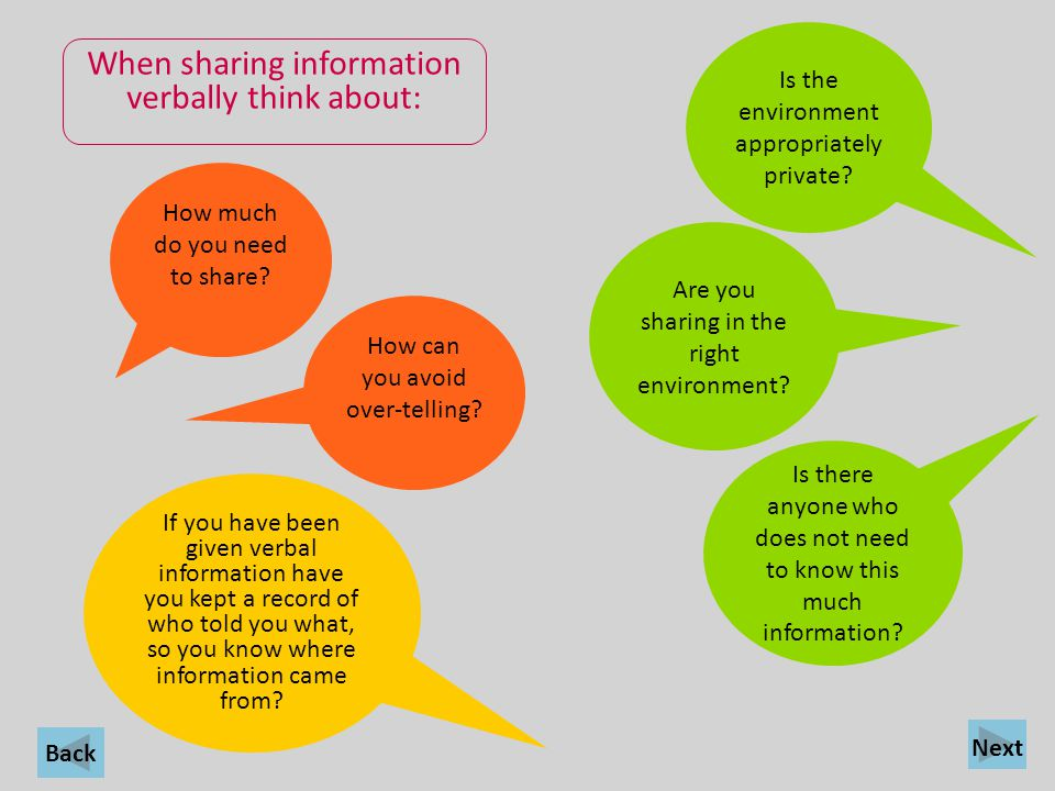 When sharing information verbally think about: