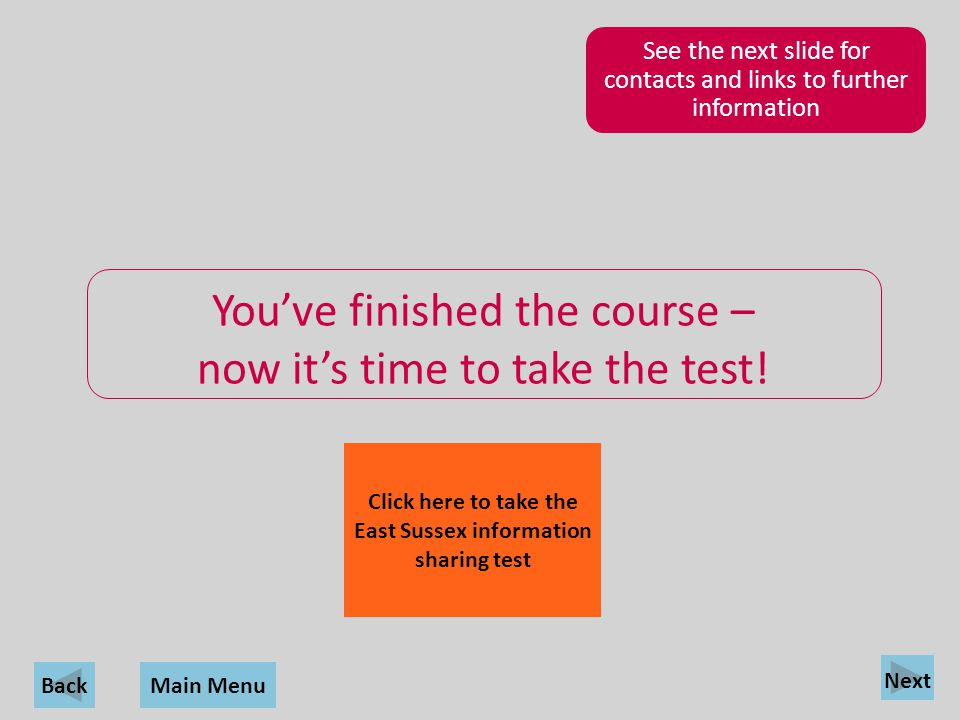 Click here to take the East Sussex information sharing test