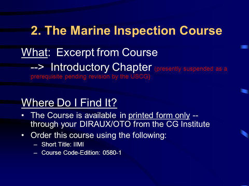 2. The Marine Inspection Course