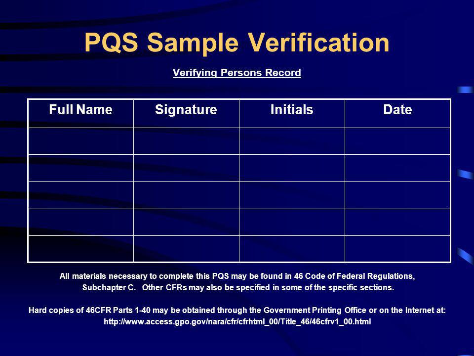 PQS Sample Verification