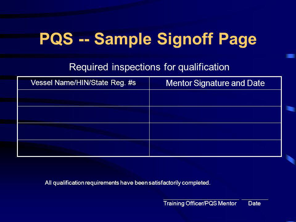 PQS -- Sample Signoff Page