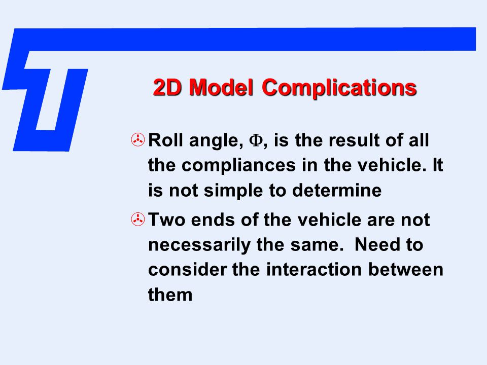 2D Model Complications Roll angle, , is the result of all the compliances in the vehicle. It is not simple to determine.