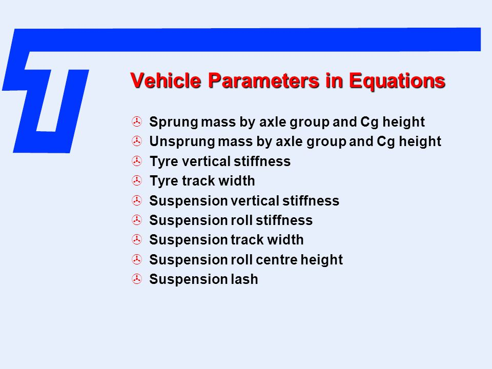 Vehicle Parameters in Equations