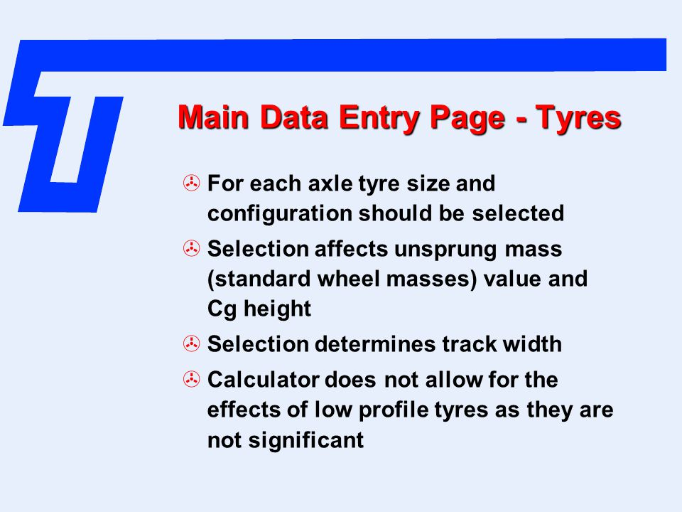 Main Data Entry Page - Tyres