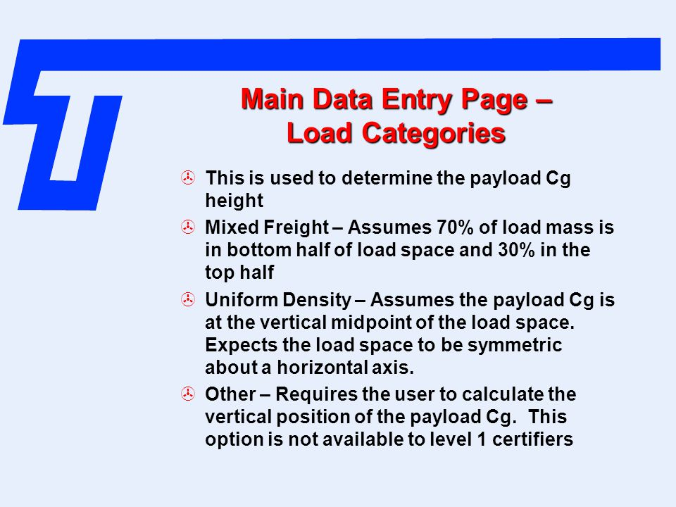 Main Data Entry Page – Load Categories