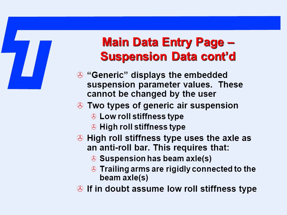 Main Data Entry Page – Suspension Data cont'd