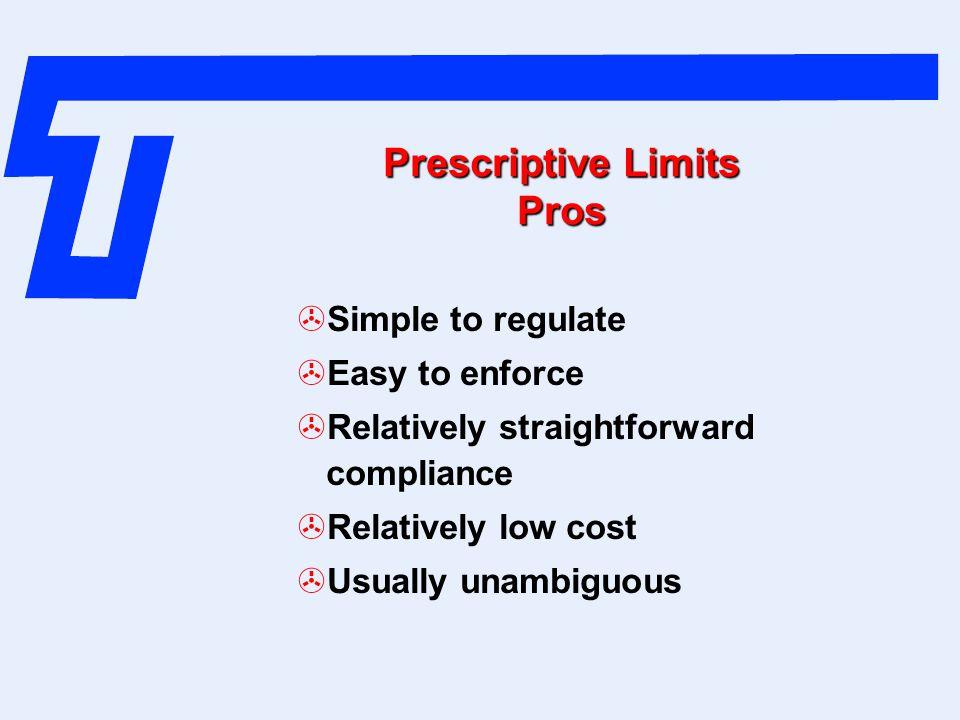 Prescriptive Limits Pros