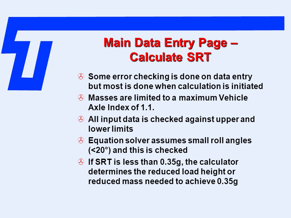 Main Data Entry Page – Calculate SRT