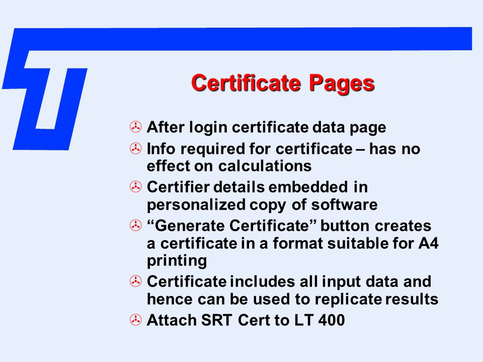 Certificate Pages After login certificate data page