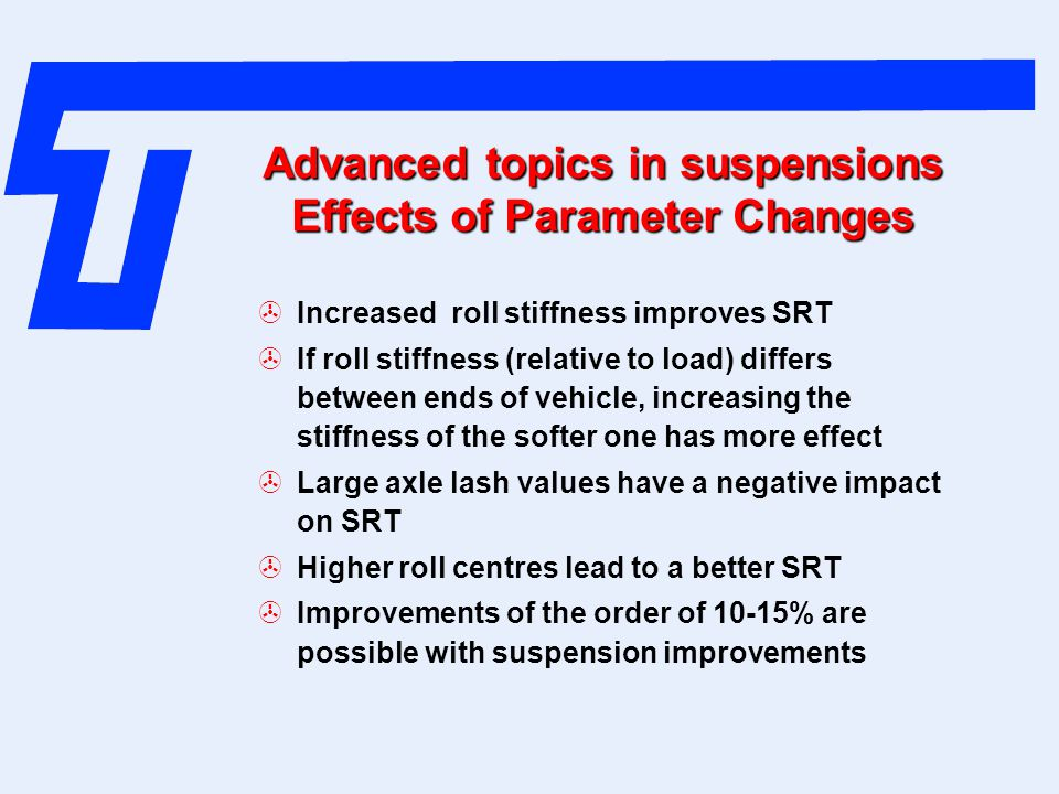Advanced topics in suspensions Effects of Parameter Changes