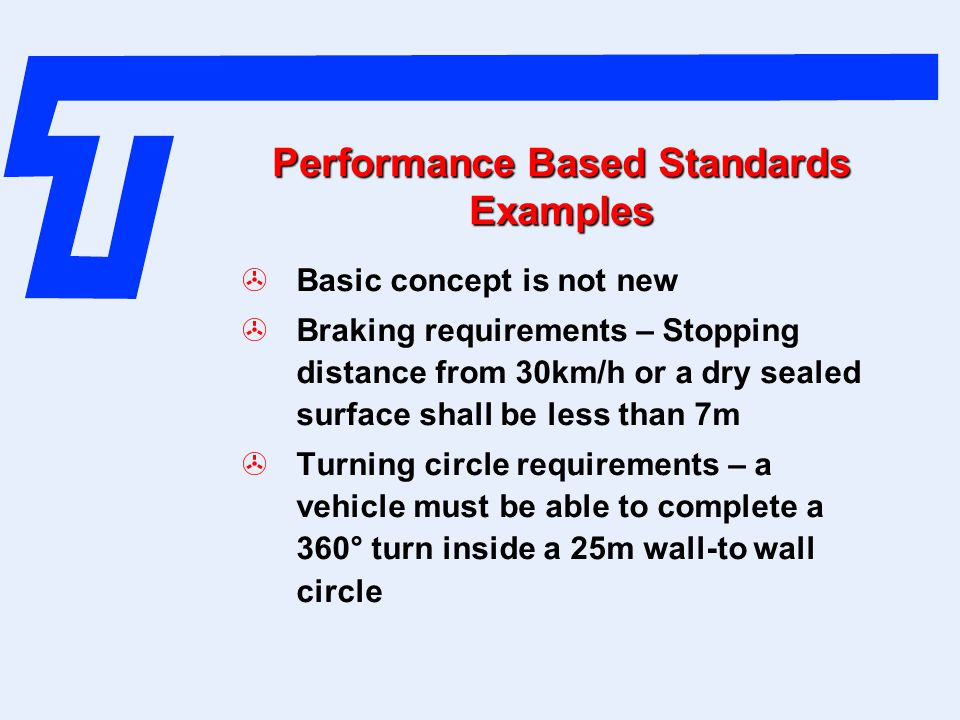Performance Based Standards Examples