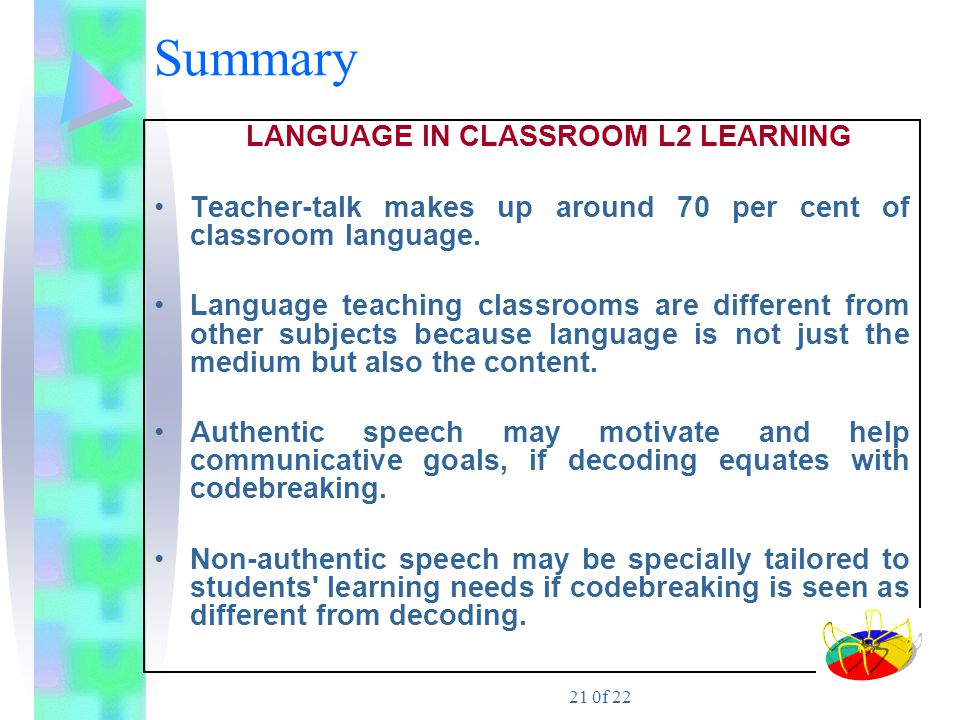LANGUAGE IN CLASSROOM L2 LEARNING