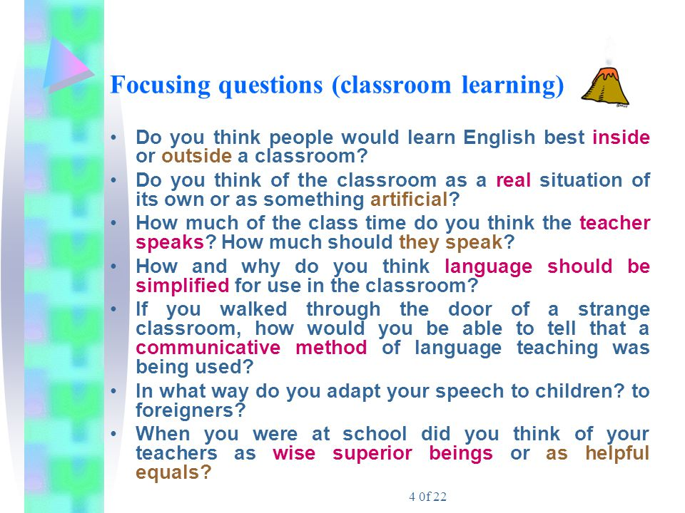 Focusing questions (classroom learning)