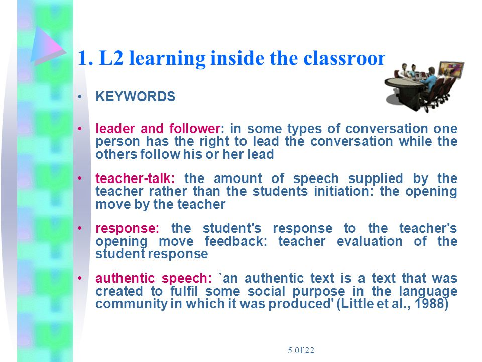 1. L2 learning inside the classroom