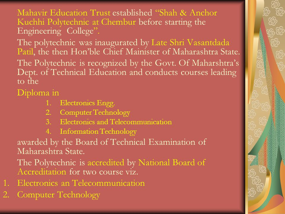 awarded by the Board of Technical Examination of Maharashtra State.