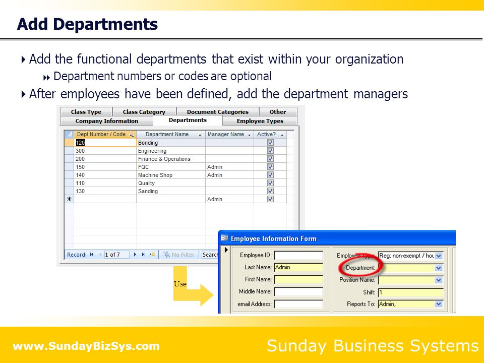 Add Departments Add the functional departments that exist within your organization. Department numbers or codes are optional.