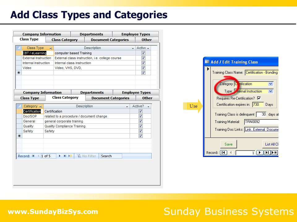 Add Class Types and Categories