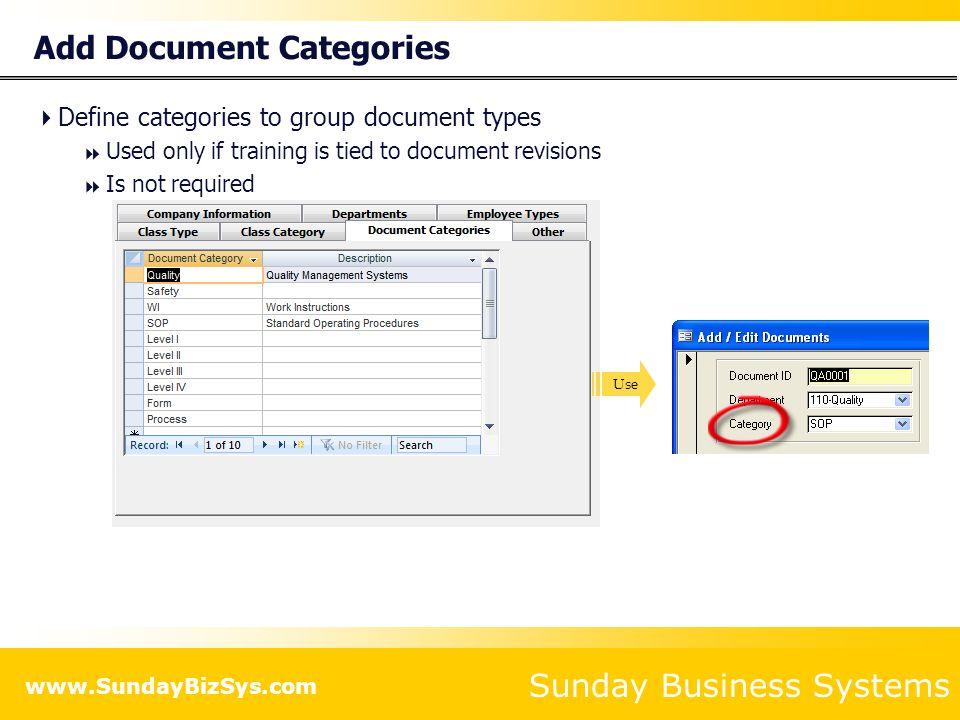 Add Document Categories