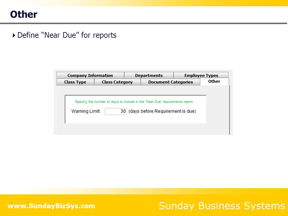 Other Define Near Due for reports