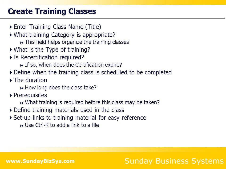 Create Training Classes