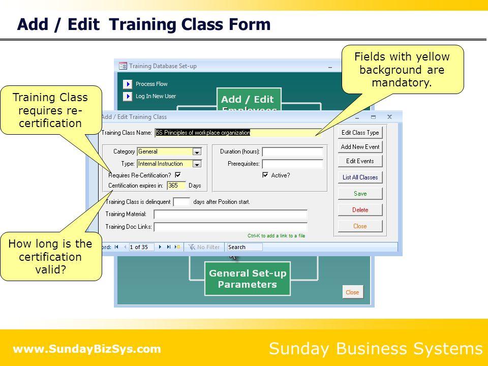 Add / Edit Training Class Form