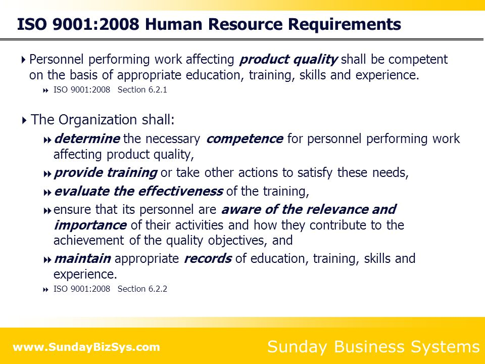 ISO 9001:2008 Human Resource Requirements