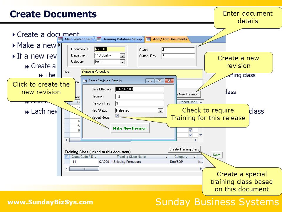Create Documents Create a document Make a new revision of the document