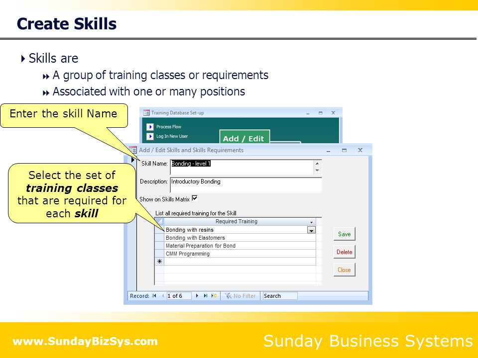 Select the set of training classes that are required for each skill