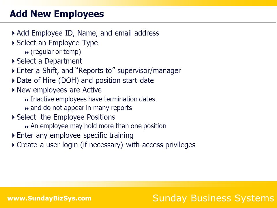 Add New Employees Add Employee ID, Name, and email address