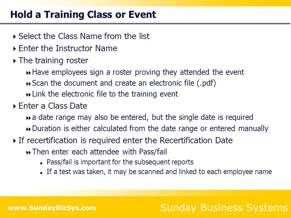 Hold a Training Class or Event