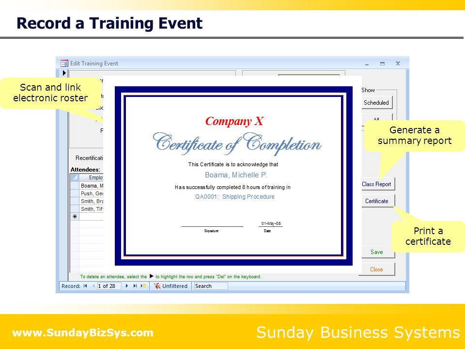 Record a Training Event