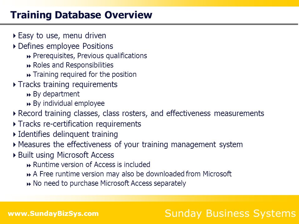 Training Database Overview