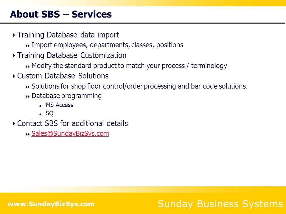 About SBS – Services Training Database data import