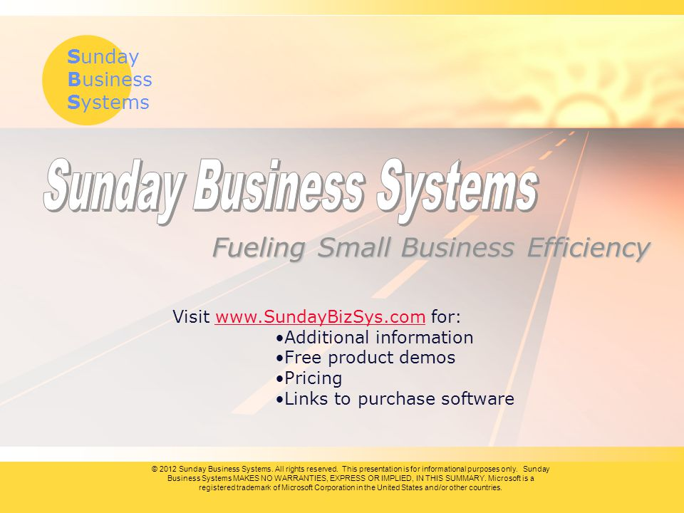 Sunday Business Systems