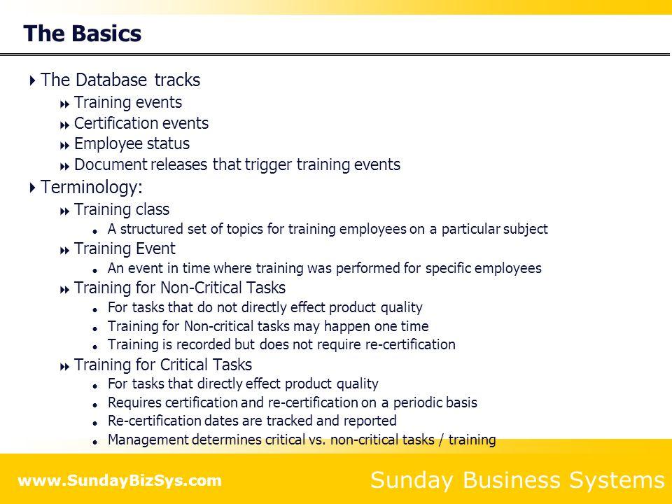 The Basics The Database tracks Terminology: Training events