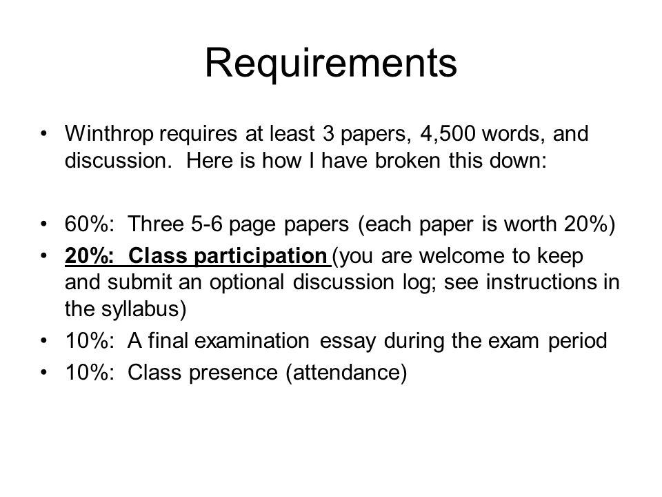 Requirements Winthrop requires at least 3 papers, 4,500 words, and discussion. Here is how I have broken this down: