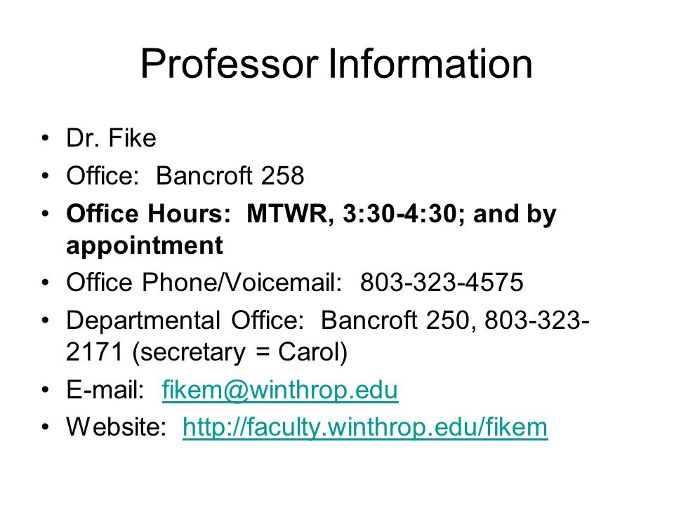 Professor Information