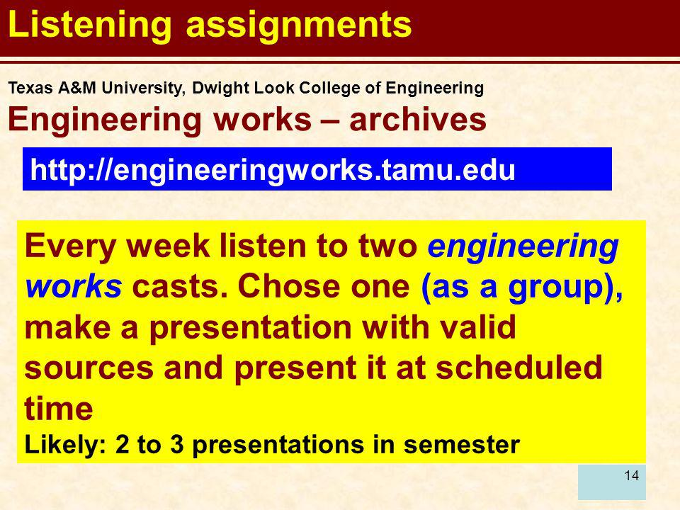 Listening assignments