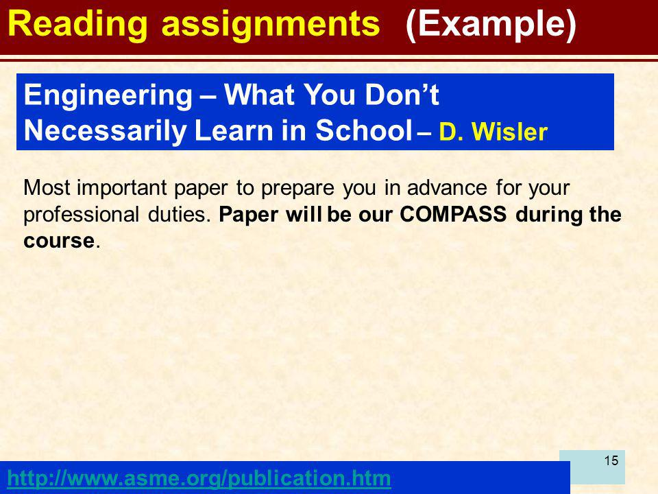 Reading assignments (Example)
