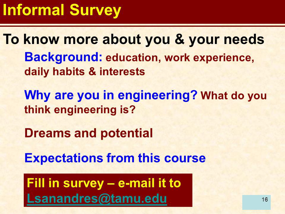 Informal Survey To know more about you & your needs