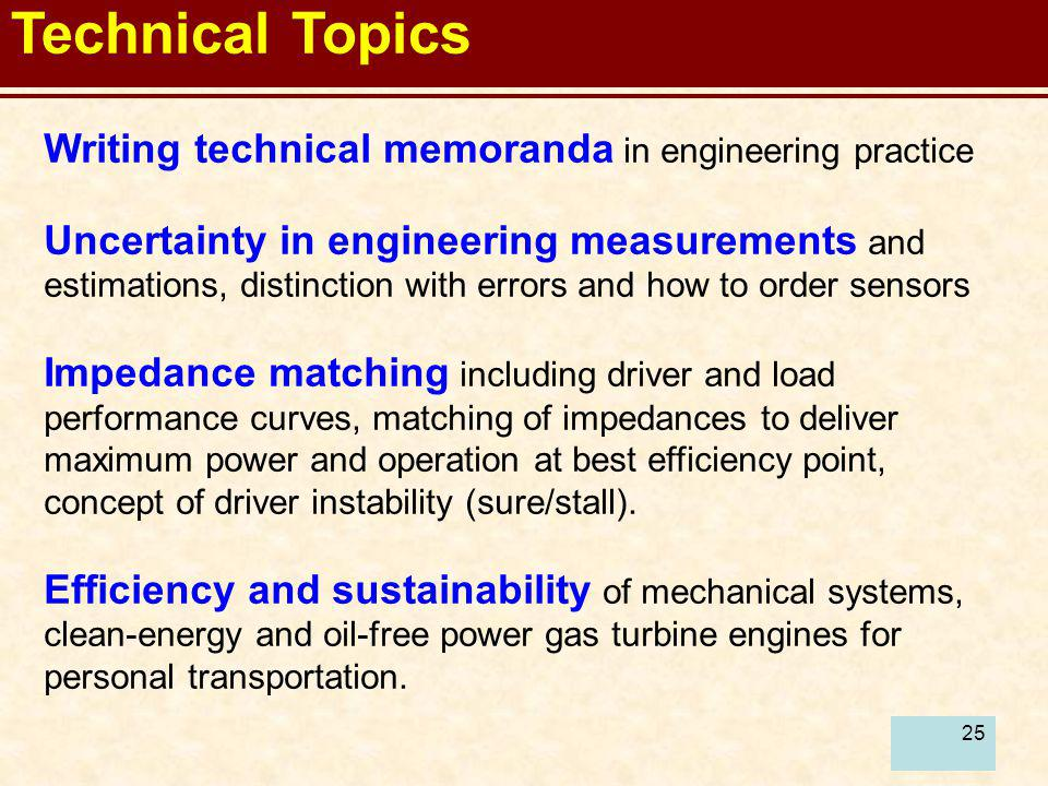 Technical Topics Writing technical memoranda in engineering practice