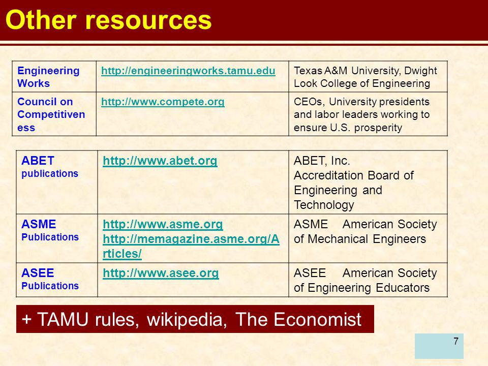 Other resources + TAMU rules, wikipedia, The Economist