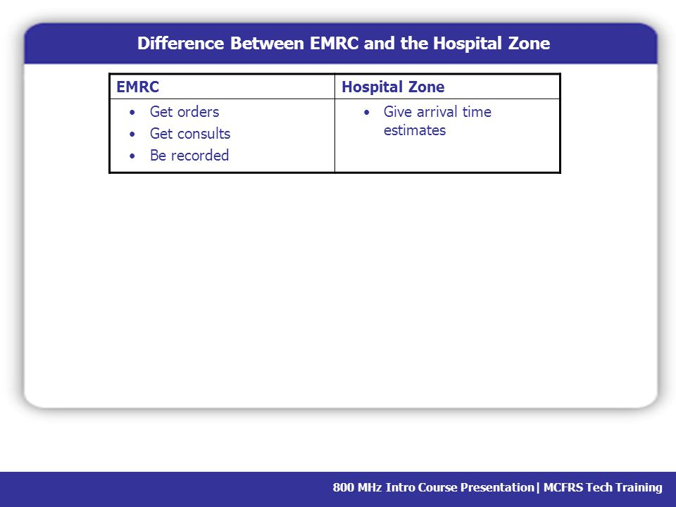 Difference Between EMRC and the Hospital Zone