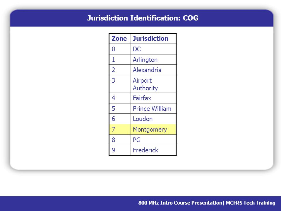 Jurisdiction Identification: COG