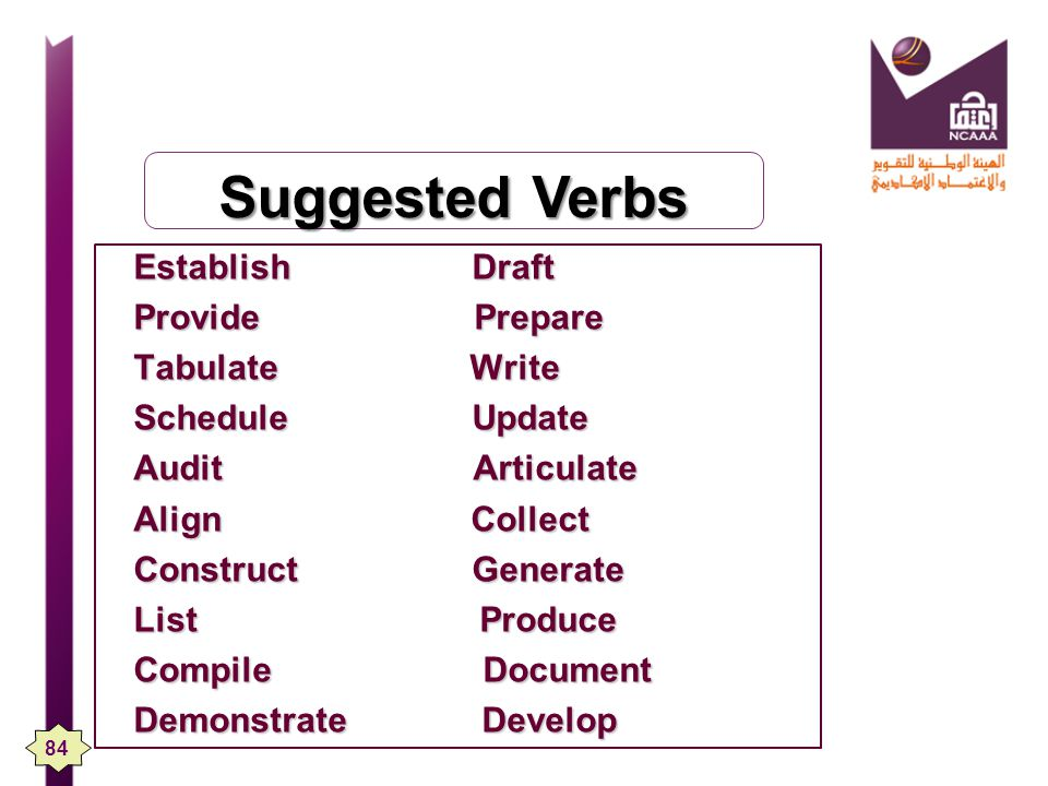 Suggested Verbs