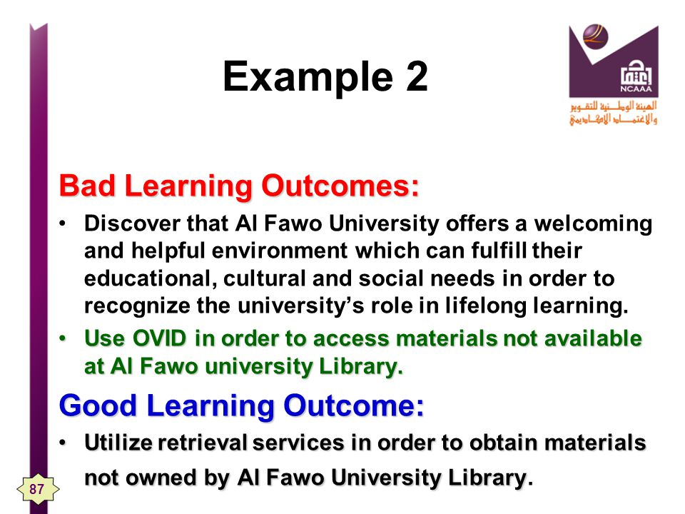 Example 2 Bad Learning Outcomes: Good Learning Outcome: